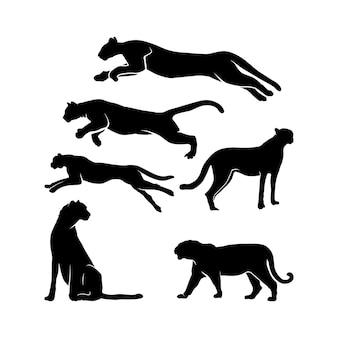 Inspiração para cenografia da silhueta da pantera negra, jaguar, puma, tigre, chita, jaguar