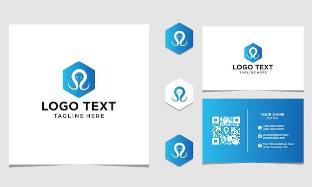 Inspiração para design de logotipo de localização de polvo para empresa e cartão de visita premium vector