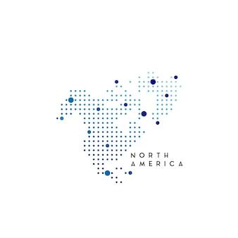 Inspiração para design de logotipo de mapa pontilhado da américa do norte