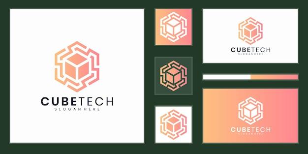 Inspiração para design de logotipo de tecnologia de cubo elegante