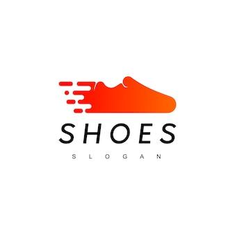 Inspiração para design de logotipos de sapatos de corrida rápida