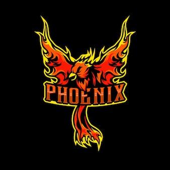 Inspiração para esportes do logotipo do phoenix mascot