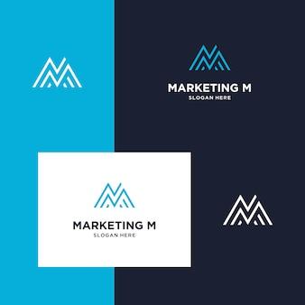 Inspiração para marketing de logotipo, montanha e iniciais m