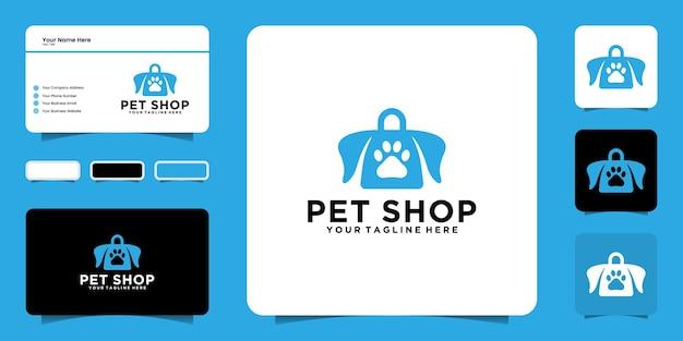 Inspiração para o design de logotipo do animal shopping, pet shop, casa para animais de estimação e modelos de cartão de visita