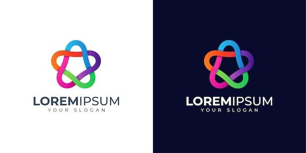 Inspiração para o design do logotipo colorido da estrela infinita