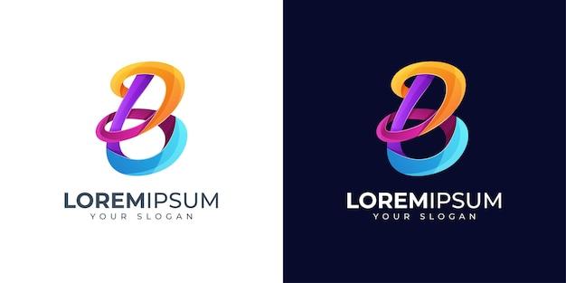 Inspiração para o design do logotipo colorido da letra b