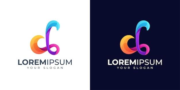 Inspiração para o design do logotipo colorido da letra d