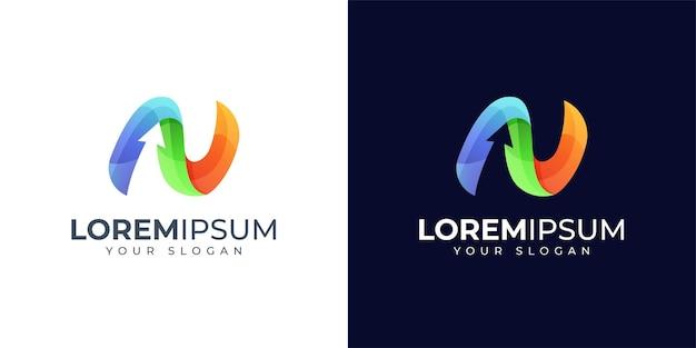 Inspiração para o design do logotipo colorido da letra n