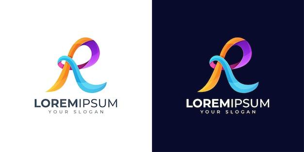 Inspiração para o design do logotipo colorido da letra r