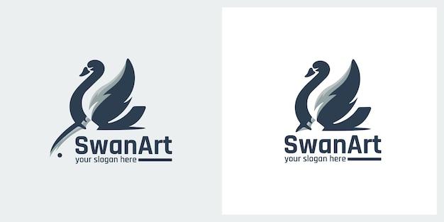 Inspiração para o design do logotipo da arte swan