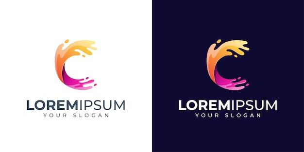 Inspiração para o design do logotipo da letra c colorida
