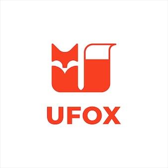 Inspiração para o design do logotipo da letra u em forma de raposa