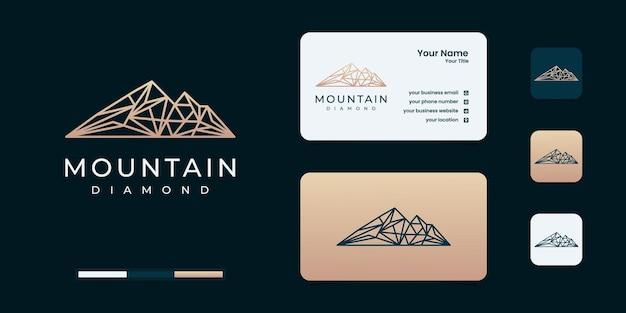 Inspiração para o design do logotipo da montanha e do diamante