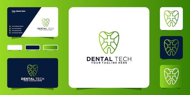 Inspiração para o design do logotipo de saúde dental com cruz de saúde e cartão de visita