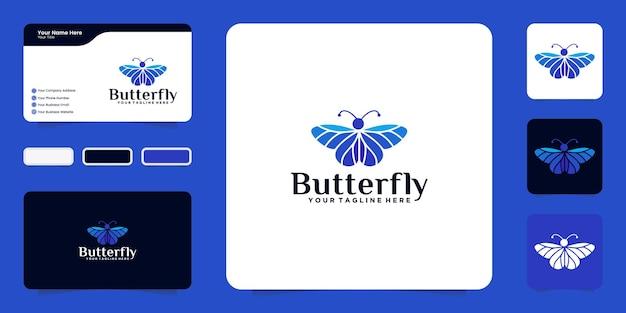 Inspiração para o design do logotipo de uma linda borboleta com cartões coloridos e de visita
