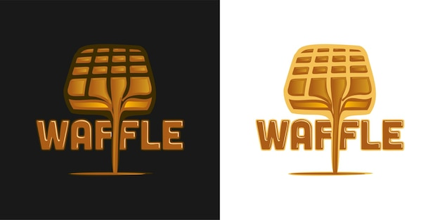 Inspiração para o design do logotipo de waffle e chocolate derretido