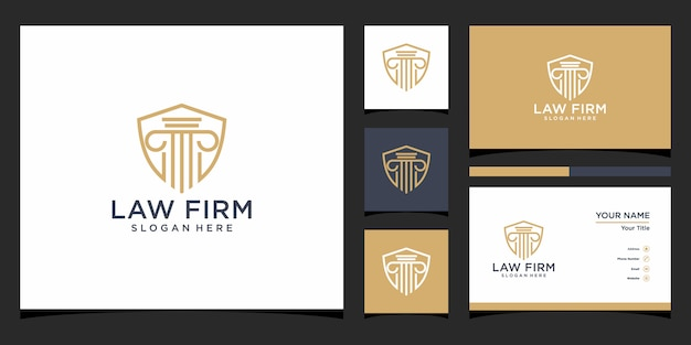 Inspiração para o design do logotipo do escritório de advocacia. design de logotipo e cartão de visita