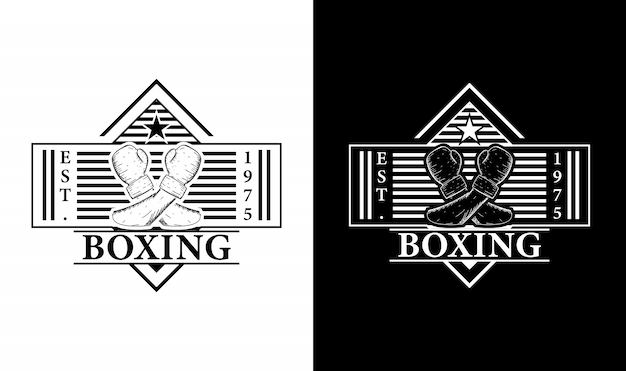 Inspiração para o design do logotipo retrô vintage de boxe