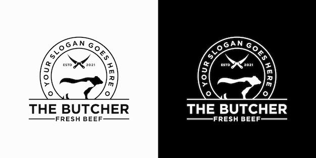 Inspiração vintage do logotipo butcher