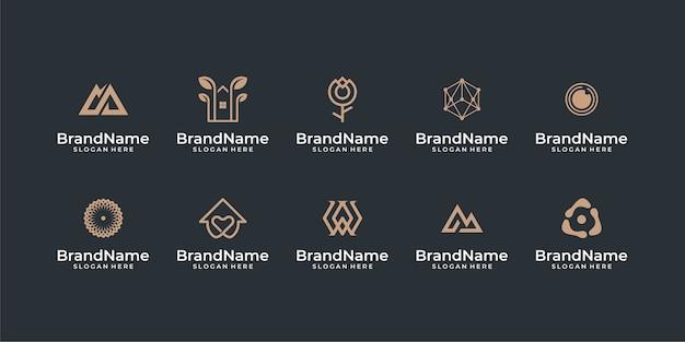 Inspirações de pacote de design de logotipo abstrato