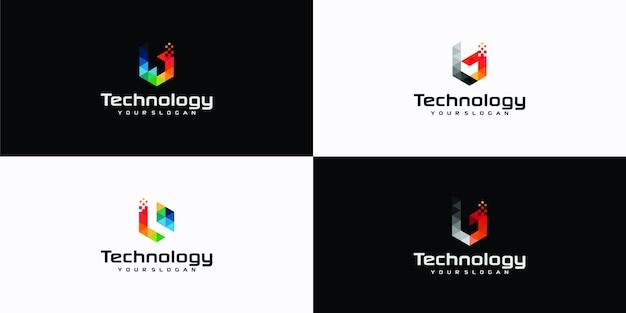 Inspirações do logotipo geométrico do triângulo do pixel da letra b