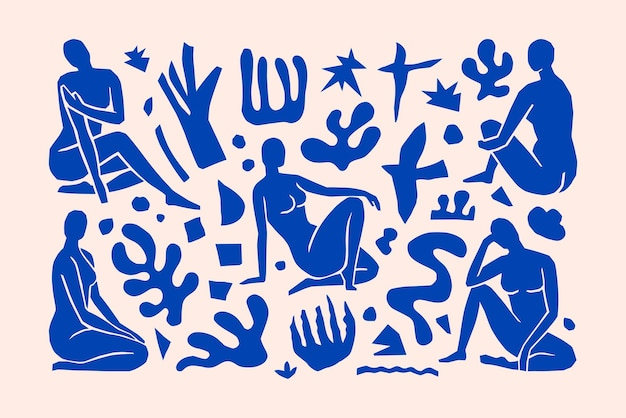 Inspirado matisse figuras femininas em diferentes poses e formas geométricas em um moderno estilo minimalista. arte vetorial colagem de corpos femininos em papel recortado para a criação de logotipos, padrões, pôsteres, capas