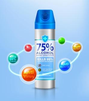 Inspirado por desinfetantes em spray ajuda a prevenir germes, bactérias, vírus e prevenir o vírus corona Vetor Premium