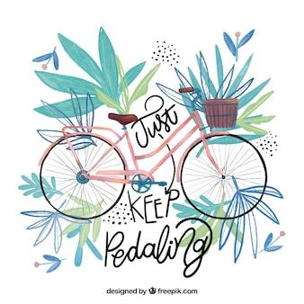 Inspiradora citação com bicicleta aquarela