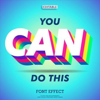Inspiradora citação com efeito colorido brilhante 3d extrude texto