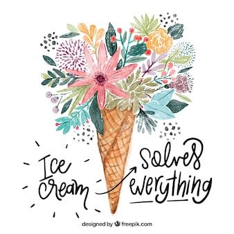 Inspiradora citação com sorvete aquarela feita de flores