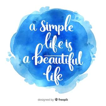Inspiradora citação em aquarela de tinta azul