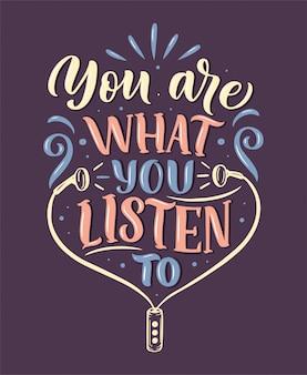 Inspiradora citação sobre música. mão desenhada ilustração vintage com letras.