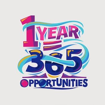 Inspiradora e citação de motivação. 1 ano é 365 oportunidades