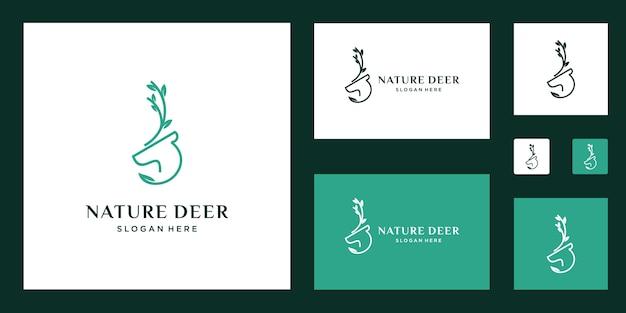 Inspiradores logotipos de veados e folhas
