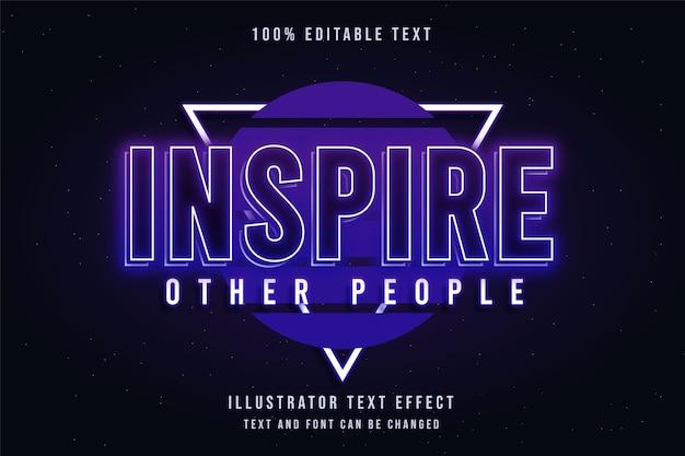 Inspire outras pessoas, efeito de texto editável em 3d gradação azul e roxo estilo de texto neon