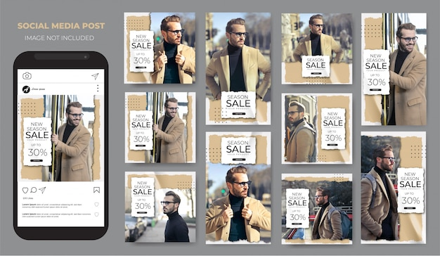 Instagram conjunto de moda venda pacote marrom claro modelo de venda post feed