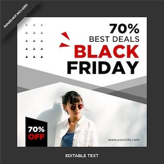 Instagram de banner de sexta-feira negra e post design de mídia social