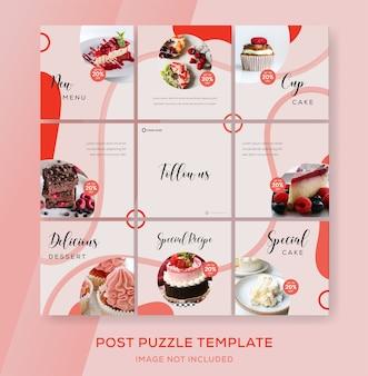 Instagram de feed de banner de quebra-cabeça para comida de bolo