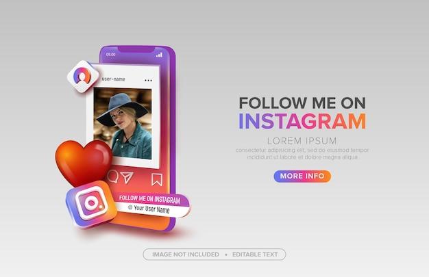 Instagram de redes sociais com celular Vetor Premium