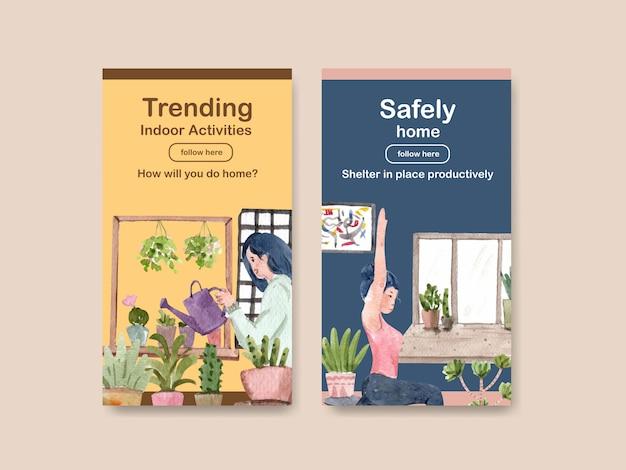 Instagram design ficar em casa conceito com a mulher em jardinagem e yoga e ilustração de aquarela de quarto interior