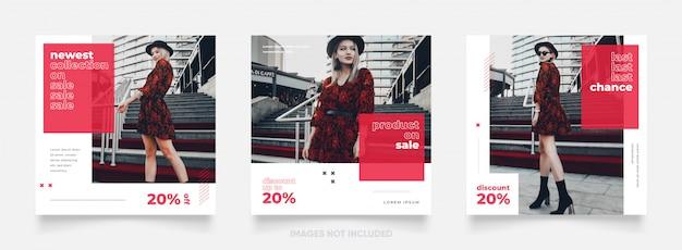Instagram e facebook moldura quadrada quebra-cabeça cartaz. mídia social postar banner para promoção de venda de moda