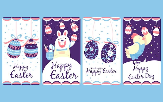 Instagram easter stories collection hen and bunny