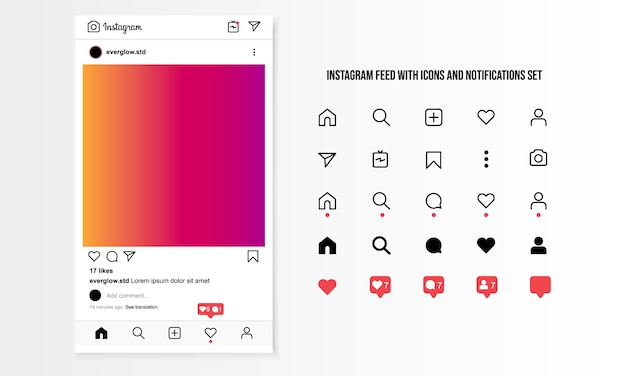 Instagram feed com ícones e notificações definido