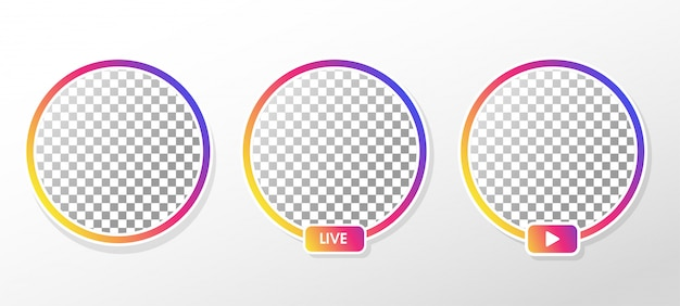 Instagram live. moldura de perfil de círculo gradiente para transmissão ao vivo nas mídias sociais.