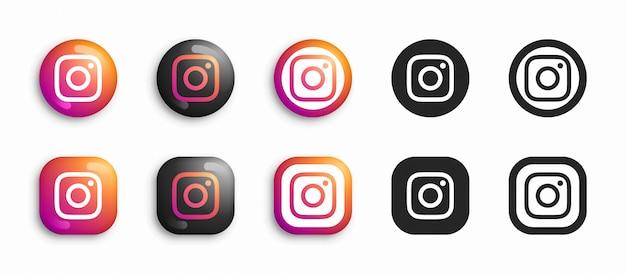 Instagram moderno 3d e conjunto de ícones plana