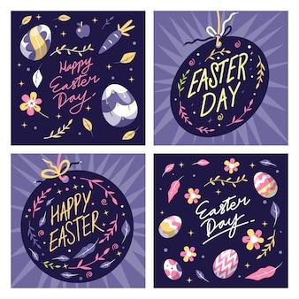 Instagram post de páscoa com ovos e flores