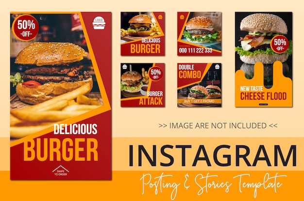 Instagram posting template stories tema comida