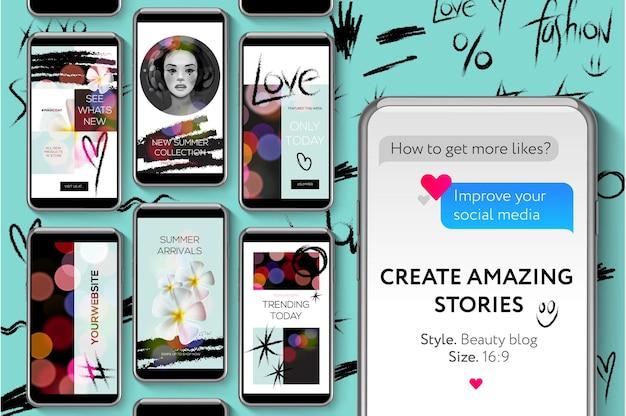 Instagram stories ui kit modelos de mídia social imagem de beauty blog stories