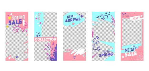Instagram story template mega spring sale mobile app página conjunto de tela a bordo.
