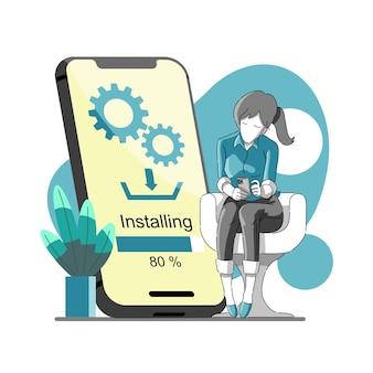 Instalação de aplicativos baixados ou atualização no telefone celular